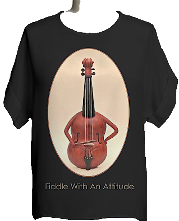 Fiddle With Attitude MissyKaolin VIDA elegant whimsy violin shirt black brown