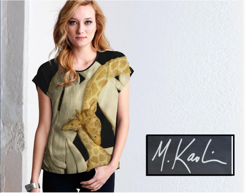 VIDA model giraffe tenderness mod tee,fashion safari top elegant sporty style