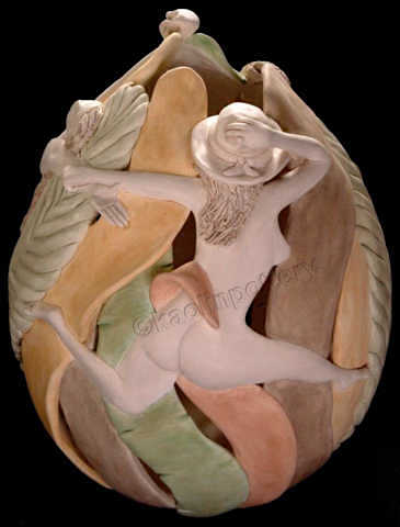 Kaolin Pottery Gt. Barrington, MA ceramic art gallery nude rotating sculpture
