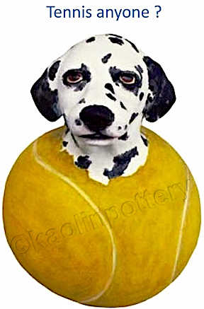 Tennis Anyone? Berkshire's Kaolin Pottery clay Dalmatian popping out tennis ball