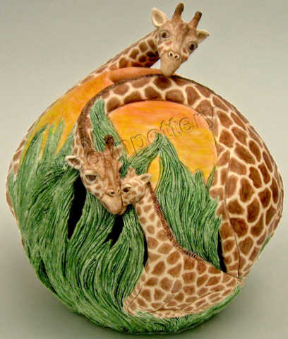 Kaolin Pottery Gt. Barrington, MA ceramic art gallery giraffes caressing sunset