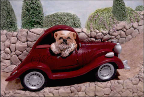 Kaolin Pottery Gt. Barrington, MA ceramic art gallery bulldog in classic car