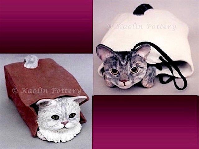 Kaolin Pottery Gt. Barrington, MA ceramic art gallery clay pet cat in paper bag
